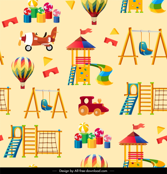playground element pattern bright colorful toys sketch