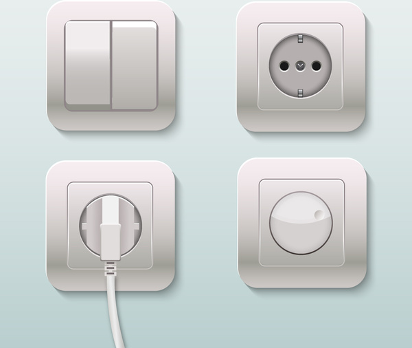 plugs sockets and switches realistic vector illustration