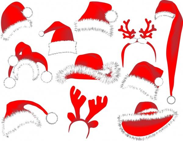 plush christmas hats vector