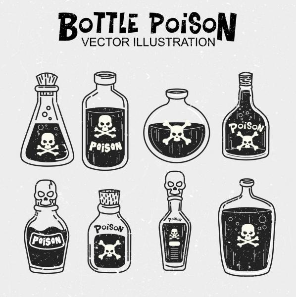 poison bottles icons black white design