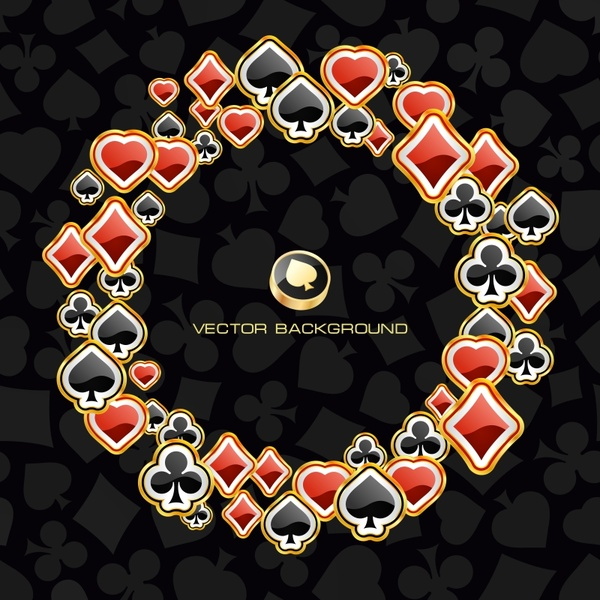 gambling background poker icons modern shiny circle layouts