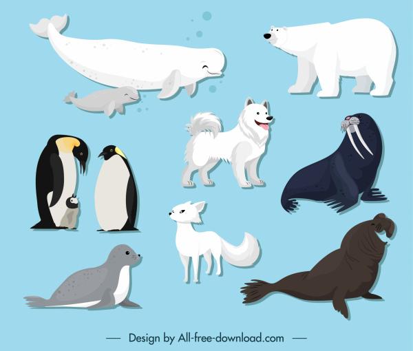 polar animals icons cute cartoon sketch
