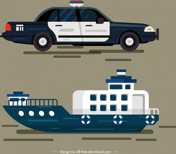 police car ship vehicles icons colored modern design