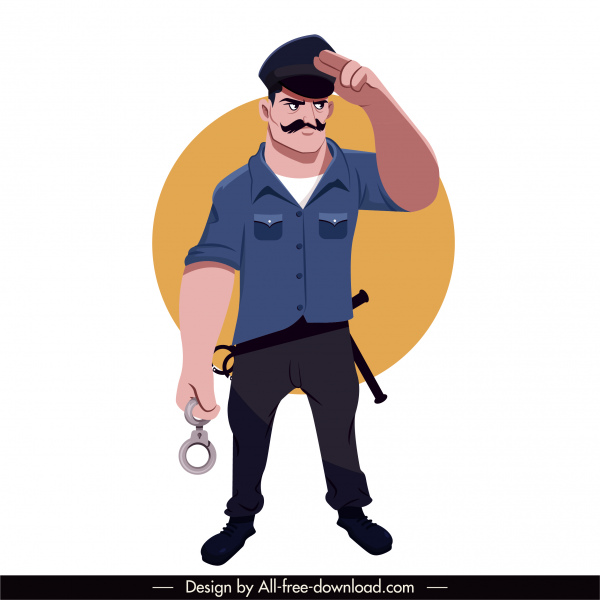 policeman icon decent gesture cartoon character sketch