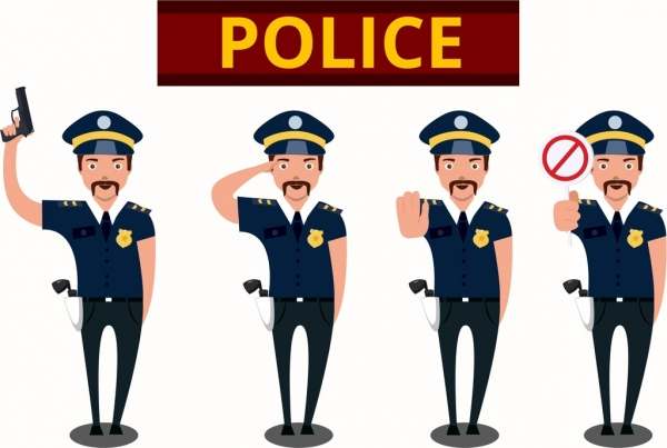 policeman icons collection various gestures isolation