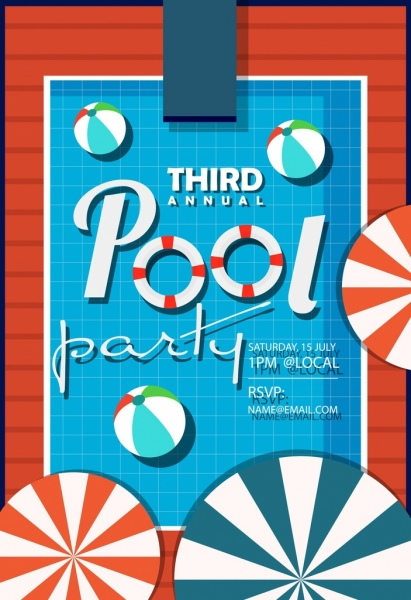 pool party poster umbrella ball icons flat design