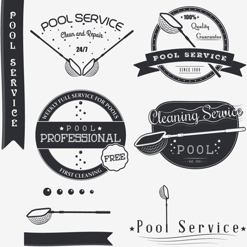pool service logo. Pool Service Logos With Labels Black Vector Logo