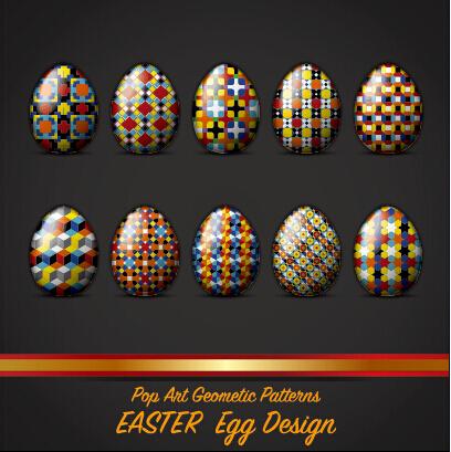 pop art geometic pattern easter egg vector