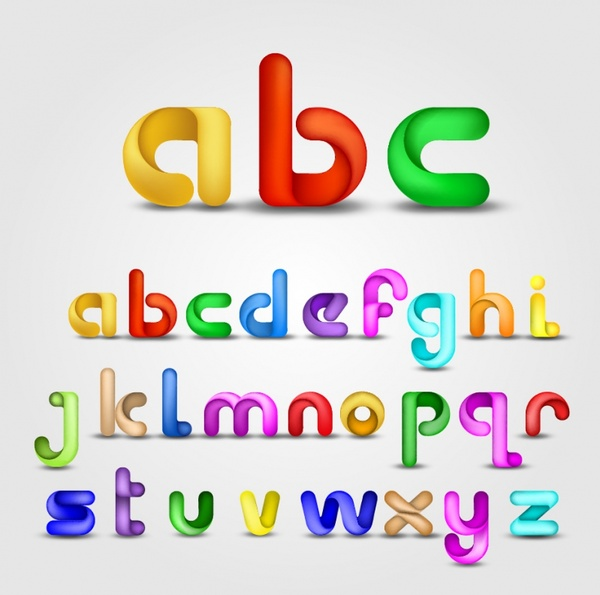 alphabet background template bright colorful 3d letterings sketch