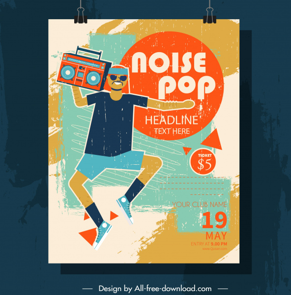Pop music poster colorful grunge retro decor Free vector in