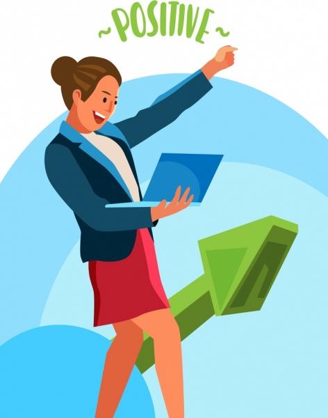 positive background happy businesswoman icon 3d arrow decor