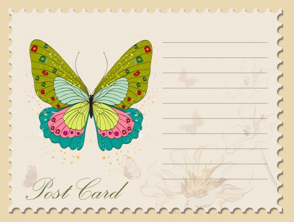 post card template colorful butterfly icon classical design
