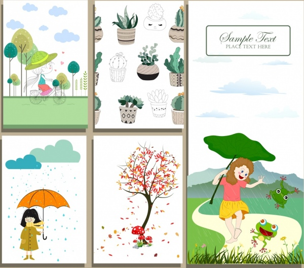 postcard cover templates childhood season plants icons