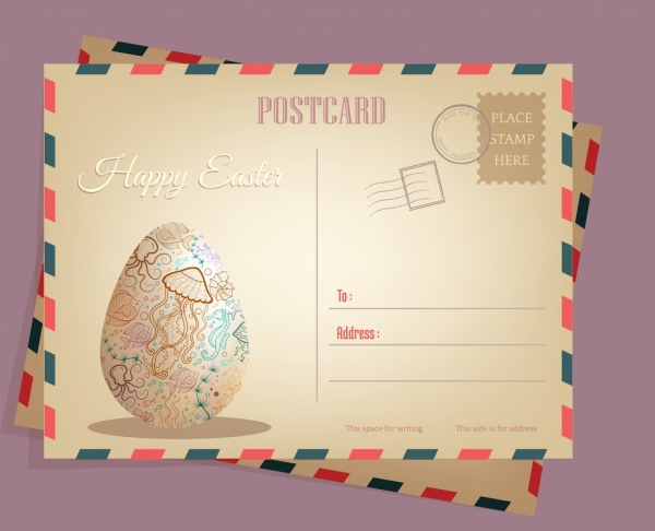 Postcard envelop template easter egg decor classical for Decor 6 template