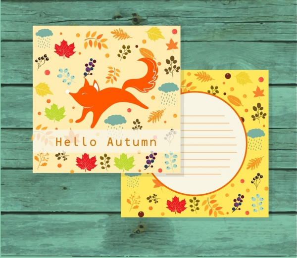 postcard template autumn style flowers fox icons
