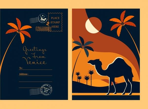 postcard template camel coconut icons dark silhouette decor