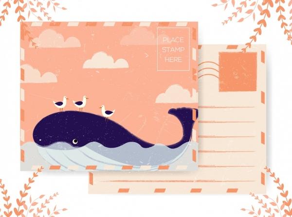 postcard template whale seagull icons colored retro design