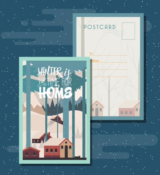 postcard template winter theme houses snow trees icons