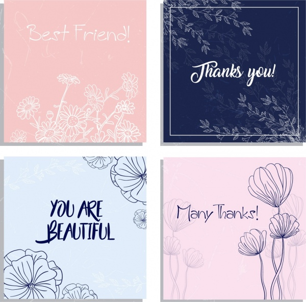 postcard templates flowers handdrawn sketch decoration