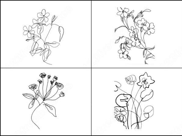 postcards flowers brush
