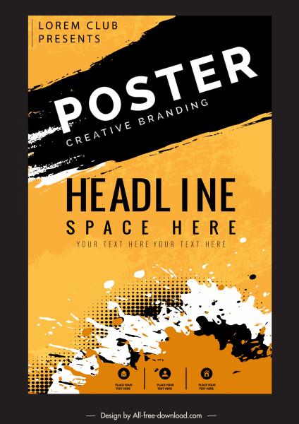 poster templates grunge splashing decor