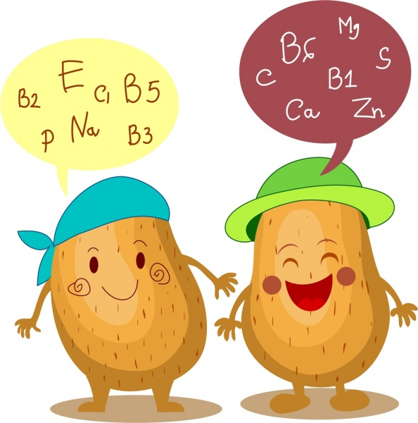potato benefit banner cute stylized cartoon icons