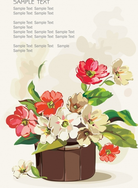 flower pot background colorful classical sketch