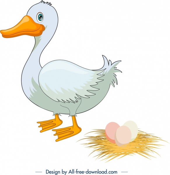 poultry background duck icon colored cartoon sketch