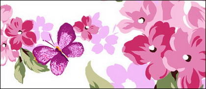 Powder purple flowers and butterflies