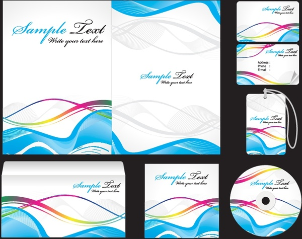 corporate identity sets modern dynamic colorful curves decor
