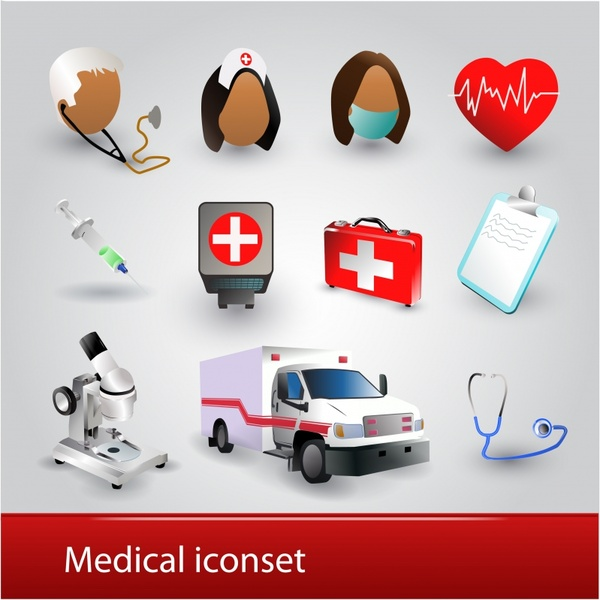 practical hospital icons vector