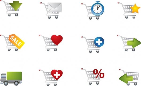 shopping transportation icons modern flat shapes