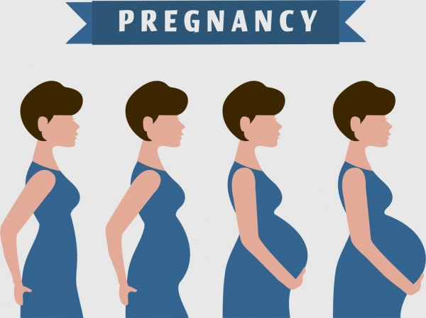 pregnancy banner woman icons design
