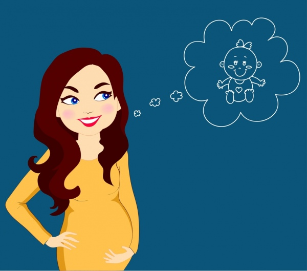 pregnant woman drawing lady kid speech bubble icons