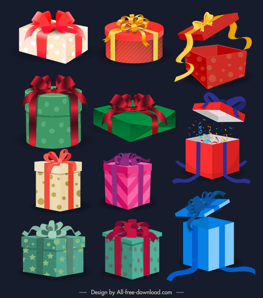 present box icons colored modern 3d sketch