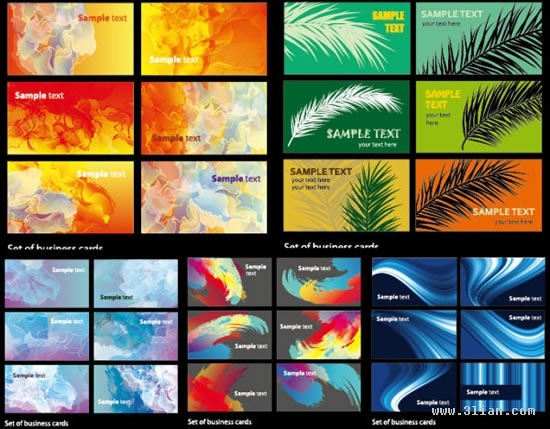 card templates collection light smoke abstract leaf themes