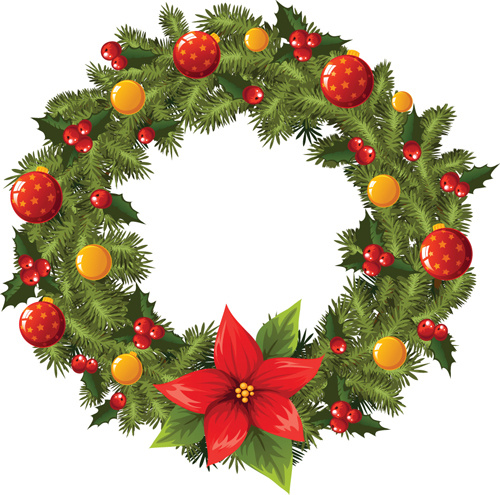 Pretty xmas wreath design vector Free vector in Encapsulated ...