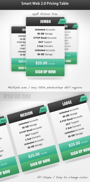 prices display table psd 2