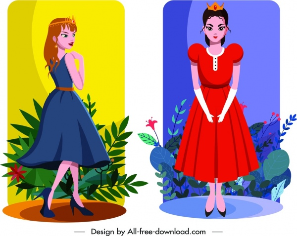 princess icons colorful design cute cartoon characters