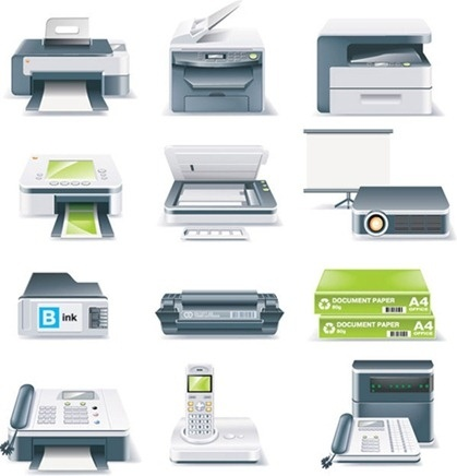 office devices icons collection colored realistic style
