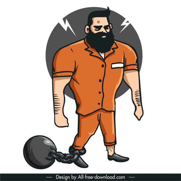 prisoner icon angry man sketch cartoon character