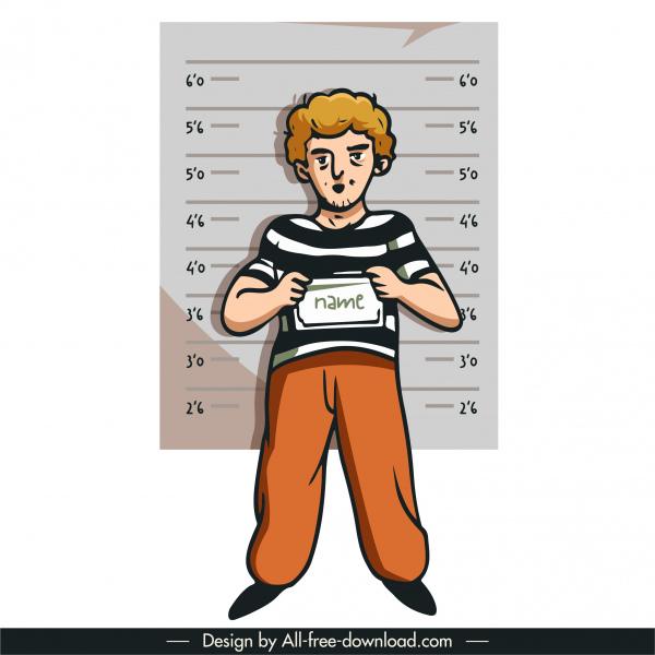 prisoner icon arrested man sketch flat handdrawn cartoon