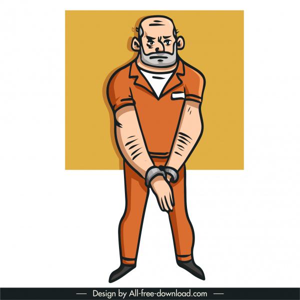 prisoner icon handdrawn cartoon character sketch
