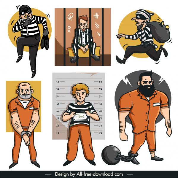 prisoner icons cartoon characters sketch handdrawn design