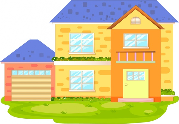 private house sketch colored two storey design