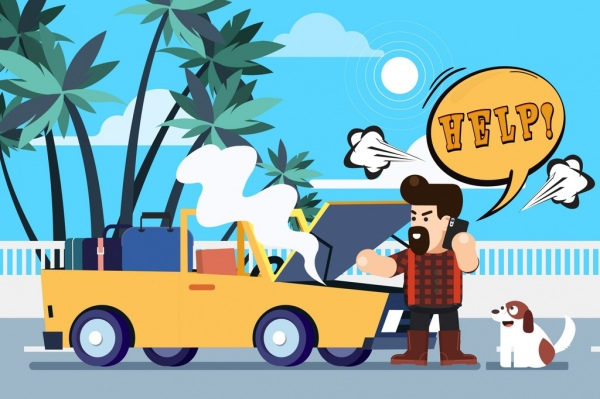 problem background man broken car icons cartoon design