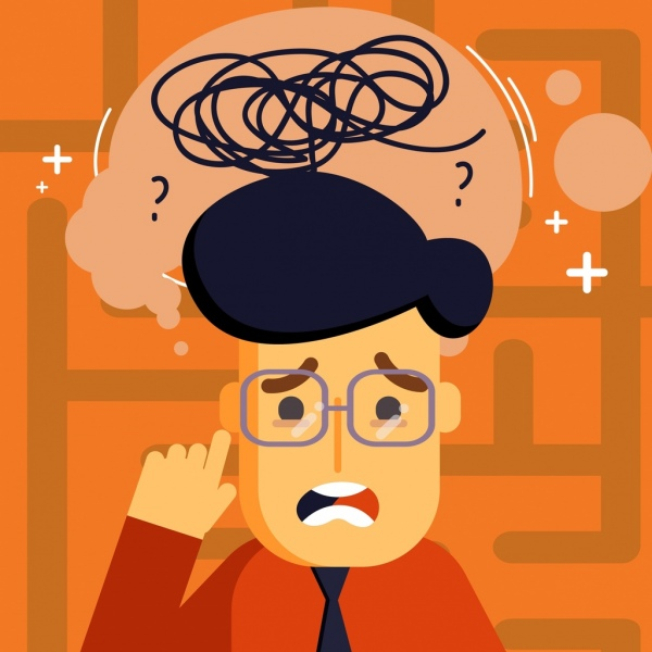 problem background man thought bubbles confused mind icons