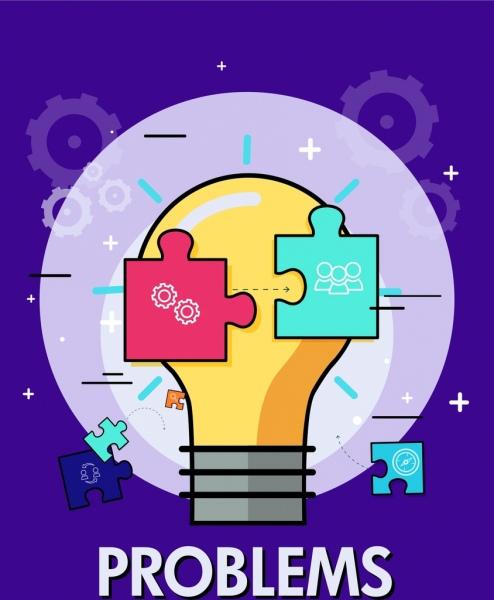 problem conceptual background lightbulb puzzle joints gears icons