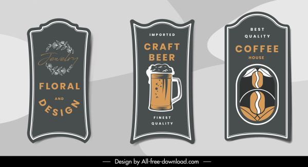 product label templates elegant dark classic vertical shapes