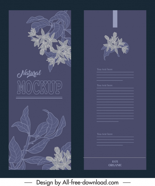 product package template elegant dark handdrawn plants decor